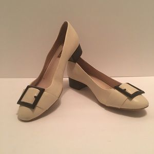Louise et Cie stacked heel loafer with faux buckle